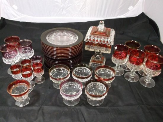 Large Group Lot Of Ruby Flash Glass