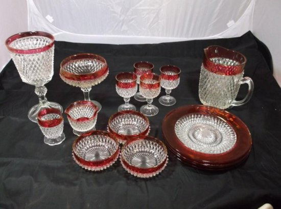 Large Nice Group Lot Of Ruby Flash Glass