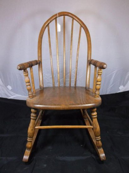 Child Or Doll Size Wooden Rocking Chair