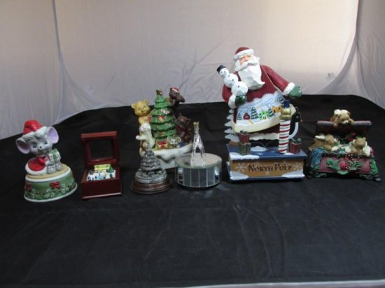 Group lot of 7 music boxes including Christmas