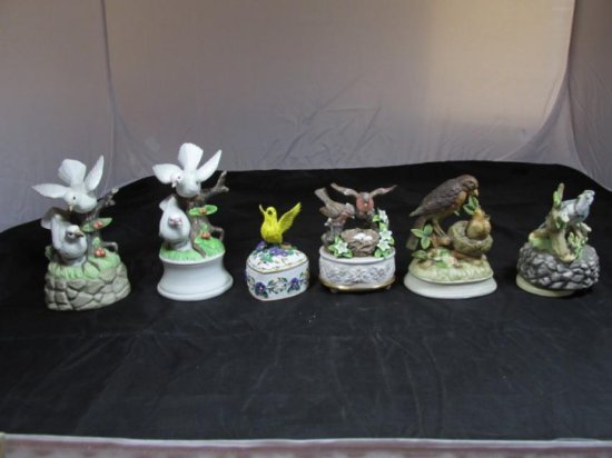 Group lot of 6 bird-themed music boxes