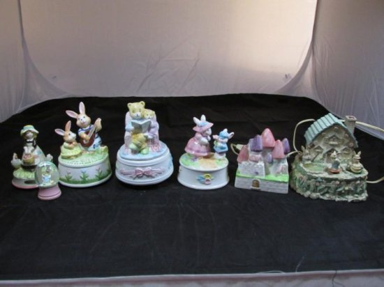 Group lot of 7 Bunny or Easter Music boxes