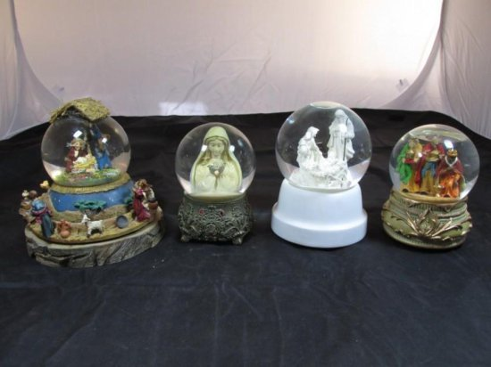 Group lot of 4 Christmas or Religious Music Box Snow Globes