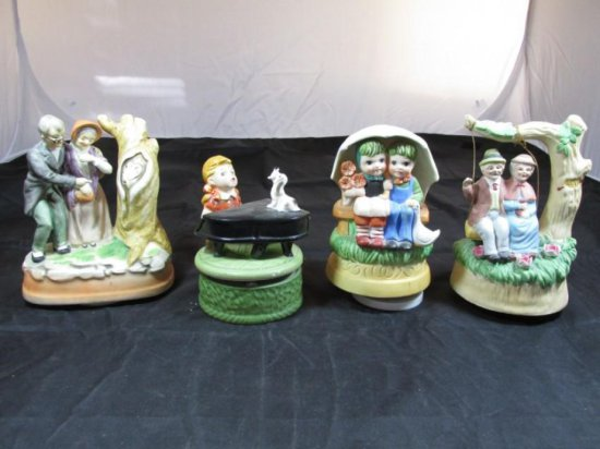 Group lot of 4 Vintage music boxes