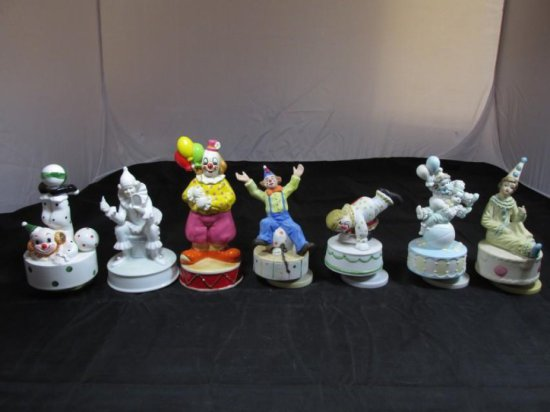 Group lot of 7 Clown Music boxes