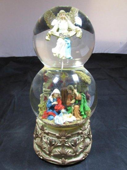 Vintage Christmas Major Scene Snow Globe Music Box