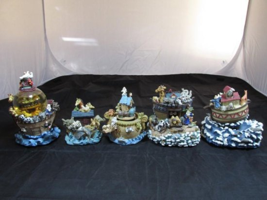 Group lot of 5 Noah's Ark Music Boxes