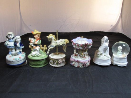 Group lot of 6 Vintage Music Boxes