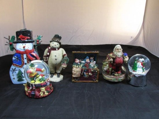 Group lot of 6 Winter or Christmas Music Boxes
