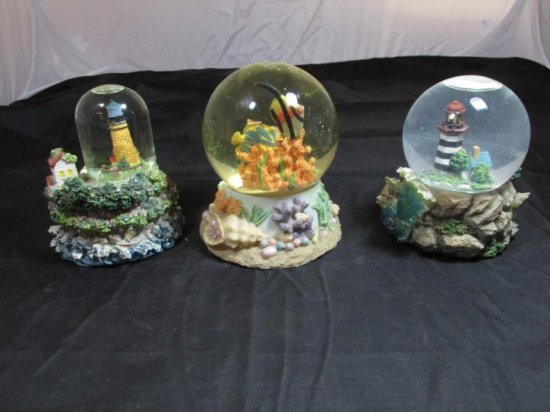 Group of 3 Nautical Musical Snow Globes