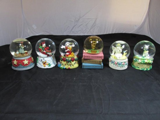 Group of 6 Snow Globe Music Boxes including Disney