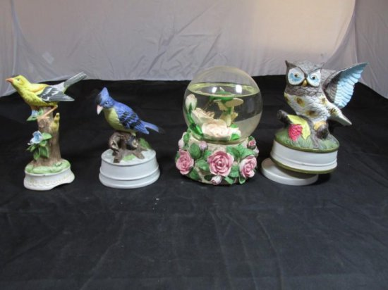Group lot of 4 Bird Themed Music Boxes