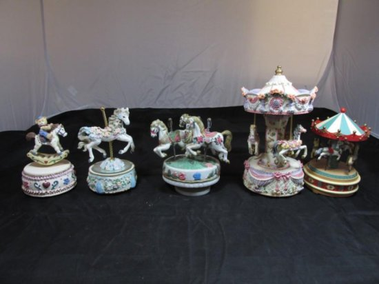 Group lot of 5 Carousel Music Boxes