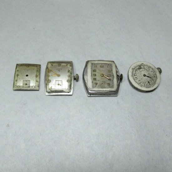 Group Lot Of Four Old Elgin Watch Movements, Dial