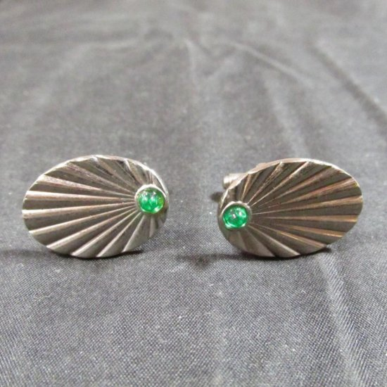 Vintage Men's Cufflinks W/green Rhinestone