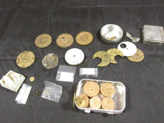 Large Lot Antique Pocket Watch Movements, Parts