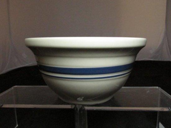 Vintage Pottery Mixing Bowl W/blue Stripe