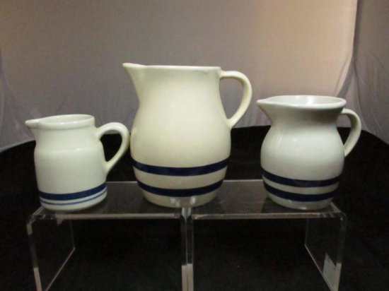 2 Rrp Co., 1 Friendship Pottery Pitchers W/blue Stripes