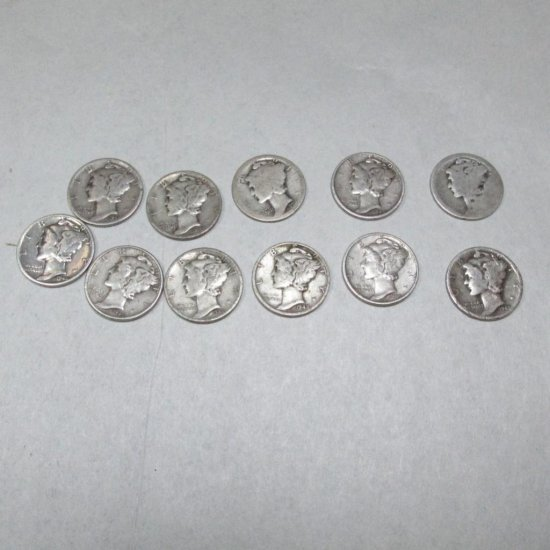 Group Of 11 Silver Mercury Dime Coins