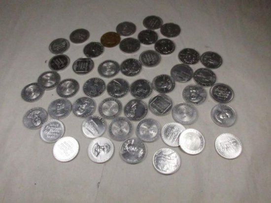 Large Lot Advertising Shell Famous Facts, Faces Tokens, Coins