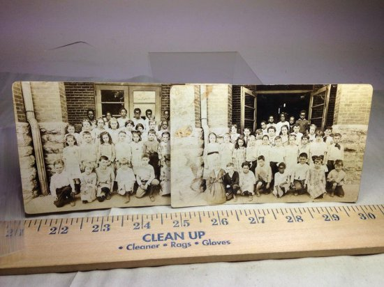 2 Antique Postcards School Classes W/black And White Students