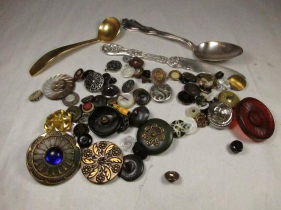 Large Vintage Buttons, Silver Plate Spoon Lot