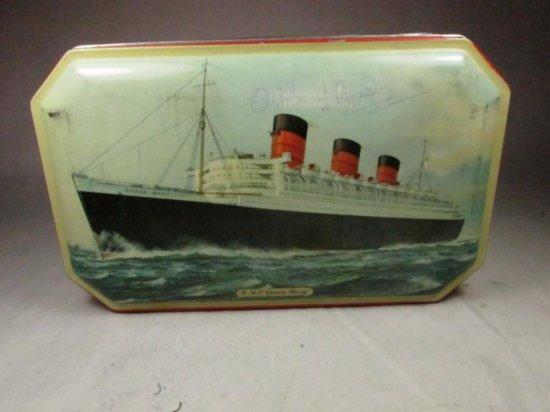 Antique Bensons Queen Mary Cruise Ship Candy Tin