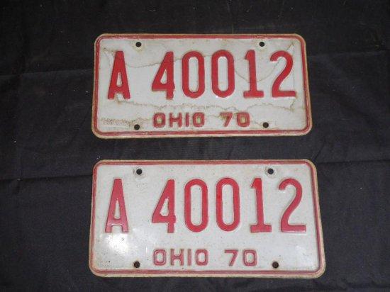 Set Of 1970 Muscle Car Era License Plates Matching