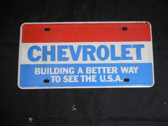 Vintage Early 70s Chevrolet License Plate - Advertising