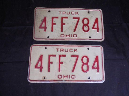 Set Of Old Ohio Truck License Plates Matching Pair