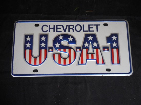 Very Nice Early 1970s Chevrolet Usa-1 License Plate Cover