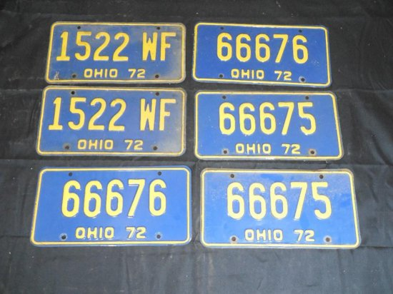 Three Matched Pairs 1972 Ohio License Plates - Muscle Car Era