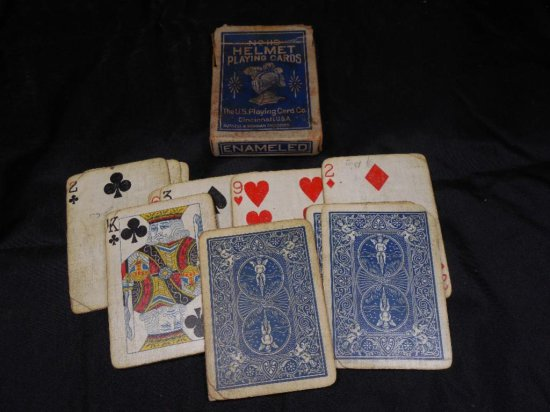 Antique Old Deck Of Helmet Playing Cards