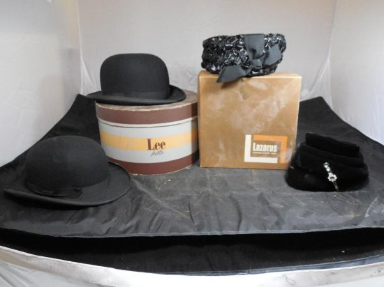 Great Lot Of Of 4 Vintage Hats Including Derby Bowler, Ladies