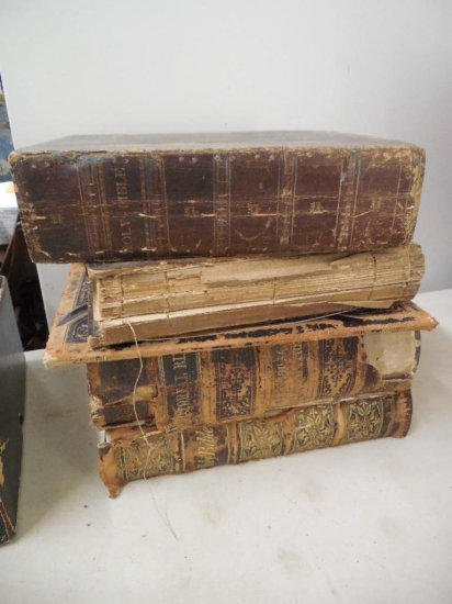 Group Lot Of Old Bible Books Including Very Early