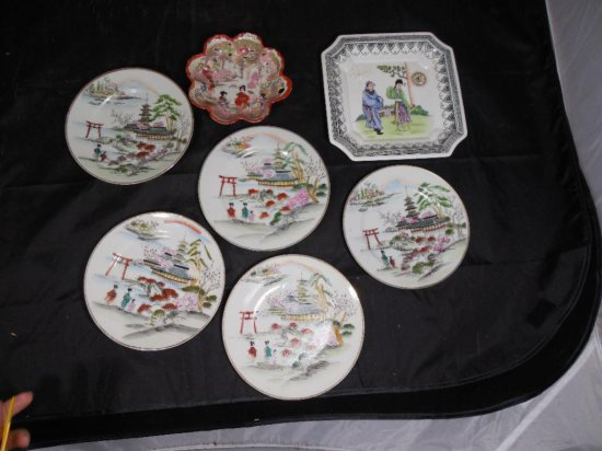 Group Of 7 Pieces Of Asian China Ceramic Plates