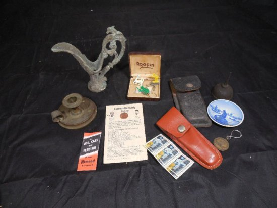 Antique Group Lot Inc. Early Candle Holder, Oiler Etc.