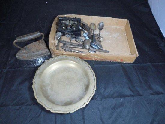 Antique Items Group Lot Inc. Sad Iron, Flatware Etc.