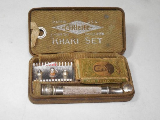 Rare Military Gillette Khaki Set Safety Razor In Box