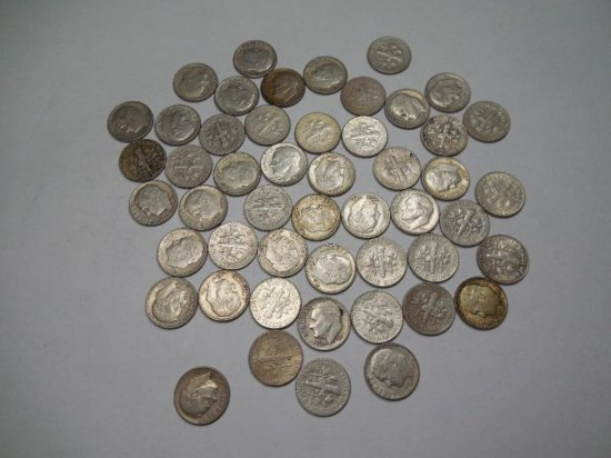 Roll Of 50 Silver 1964 Or Earlier Roosevelt Dime Coins