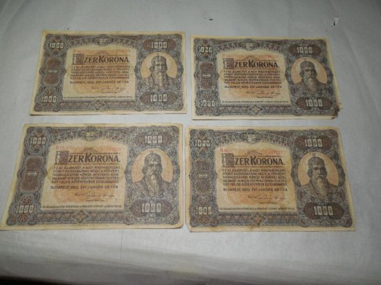 Four Antique Hungary Bank Notes