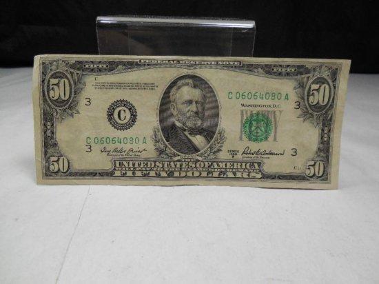 Nice Series 1950b $50 Us Federal Reserve Note
