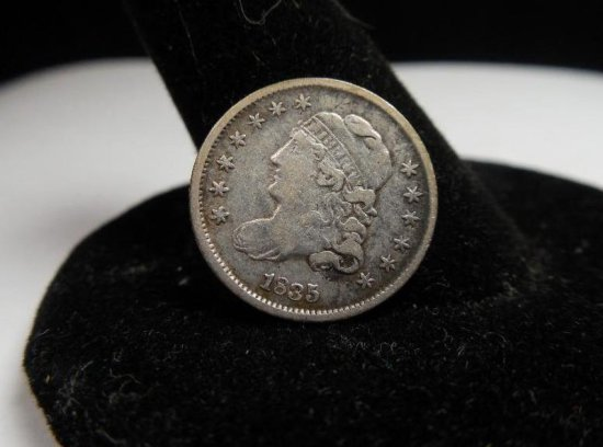 Very Nice 1835 Silver 5 Cent Half Dime Capped Bust Coin