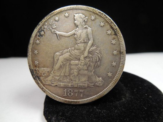 Nice 1877 Large Silver Us Trade Dollar Coin