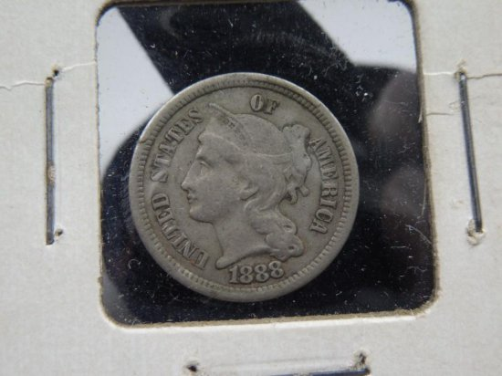 Nice 1888 Us Three-cent Piece Nickel Coin Semi Key
