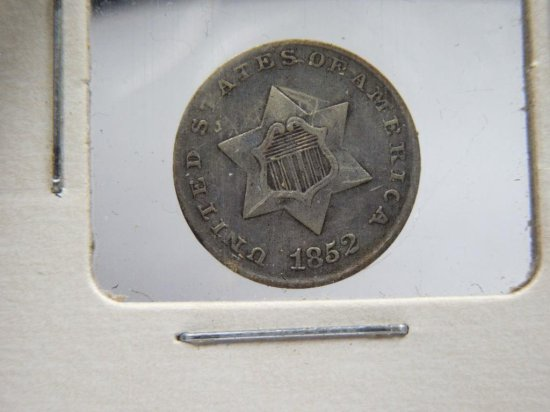 Really Nice Us 1852 Silver 3 Cent Piece Coin