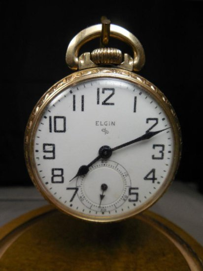 Antique Elgin Pocket Watch W/railroad Dial Gold Filled 17 Jewels