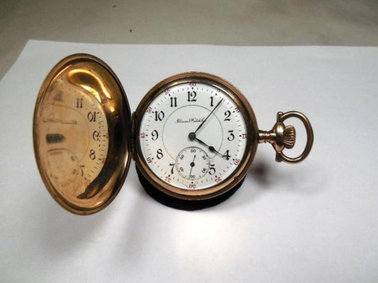 Antique Illinois Pocket Watch Gold Filled Case Running Getty Model