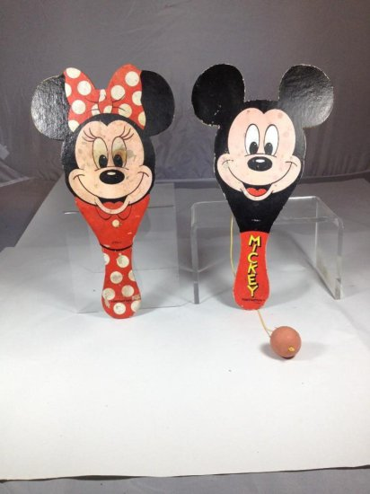 Two vintage Disney Mickey Mouse Minnie Mouse Ball Toys