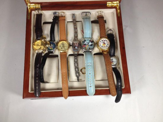 Group of 7 collectible Mickey Mouse watches in Mickey Box